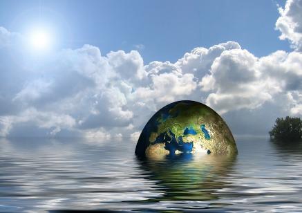 Globe floating in the sea